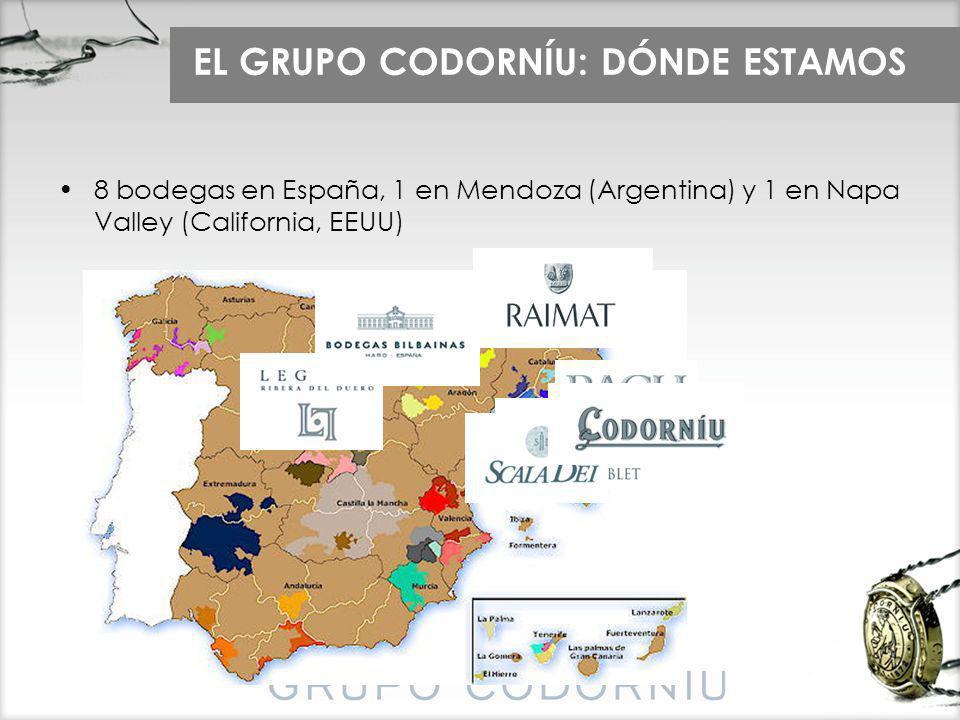 EL GRUPO CODORNÍU: DÓNDE ESTAMOS 8 bodegas en España, 1 en Mendoza (Argentina) y 1 en Napa Valley (California, EEUU)