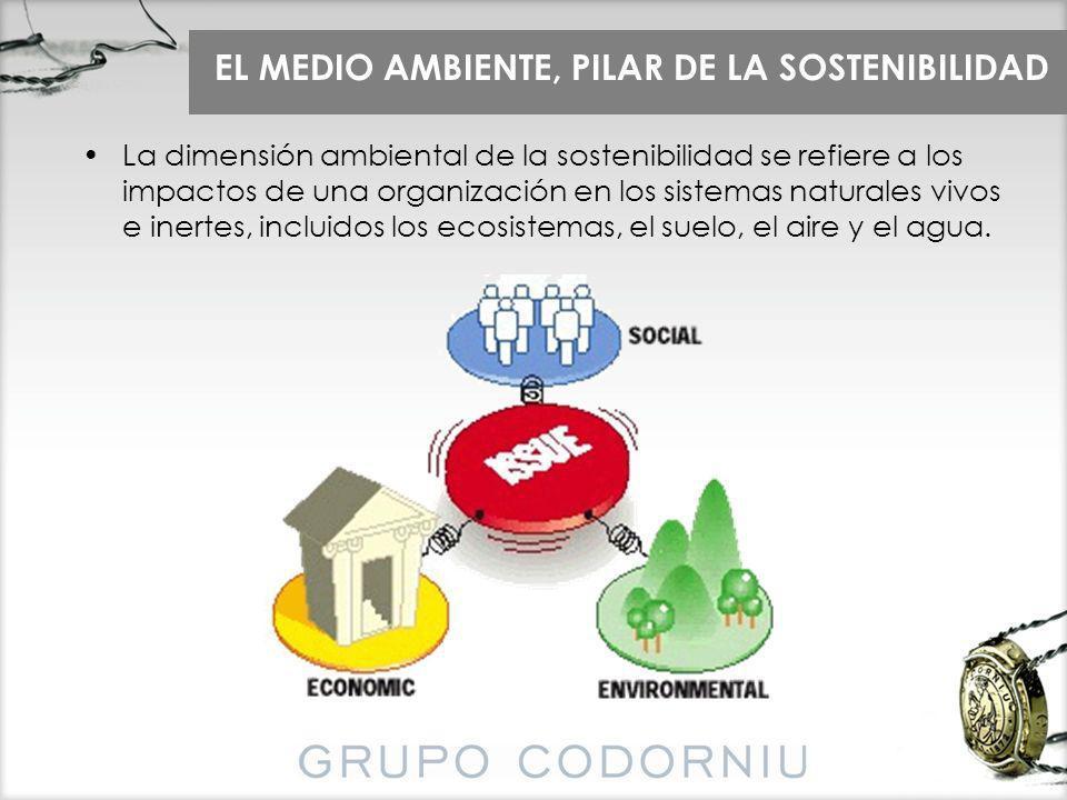 EL MEDIO AMBIENTE, PILAR DE LA SOSTENIBILIDAD La dimensión ambiental de la sostenibilidad se refiere a los impactos de una organización en los sistema