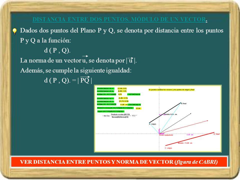 DISTANCIA ENTRE DOS PUNTOS. MÓDULO DE UN VECTOR. Dados dos puntos del Plano P y Q, se denota por distancia entre los puntos P y Q a la función: d ( P,