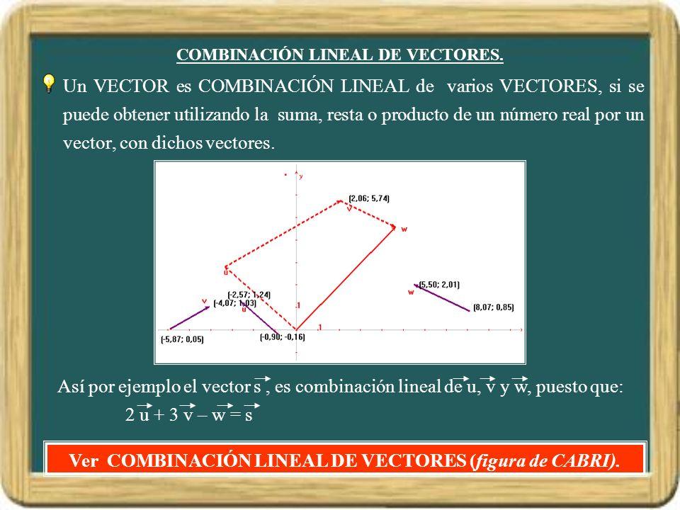 COMBINACIÓN LINEAL DE VECTORES. Un VECTOR es COMBINACIÓN LINEAL de varios VECTORES, si se puede obtener utilizando la suma, resta o producto de un núm