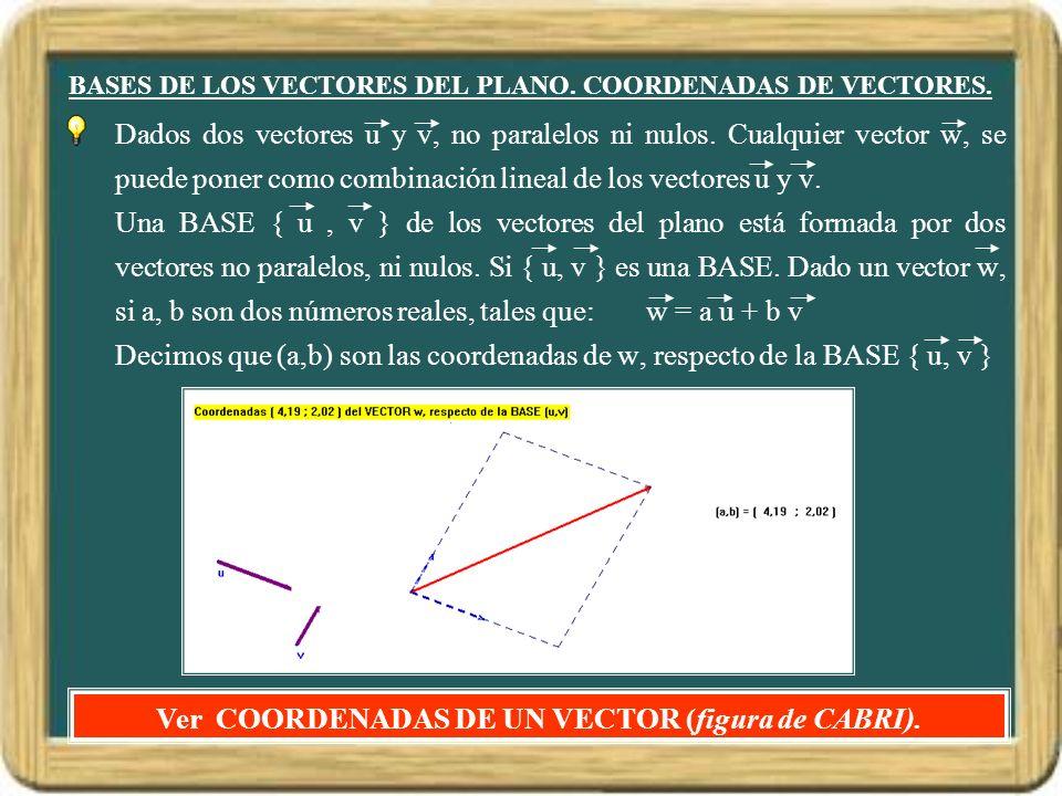 BASES DE LOS VECTORES DEL PLANO. COORDENADAS DE VECTORES. Dados dos vectores u y v, no paralelos ni nulos. Cualquier vector w, se puede poner como com