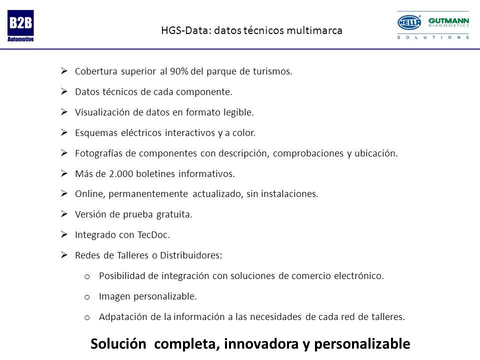 HGS-Data: datos técnicos multimarca Cobertura superior al 90% del parque de turismos. Datos técnicos de cada componente. Visualización de datos en for