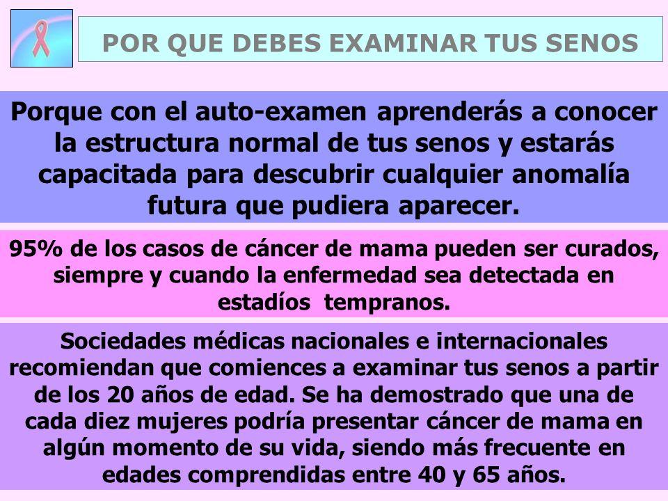 POR QUE DEBES EXAMINAR TUS SENOS Sociedades médicas nacionales e internacionales recomiendan que comiences a examinar tus senos a partir de los 20 años de edad.