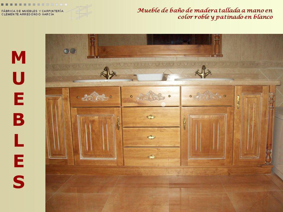 MUEBLESMUEBLES Mueble de baño de madera tallada a mano en color roble y patinado en blanco