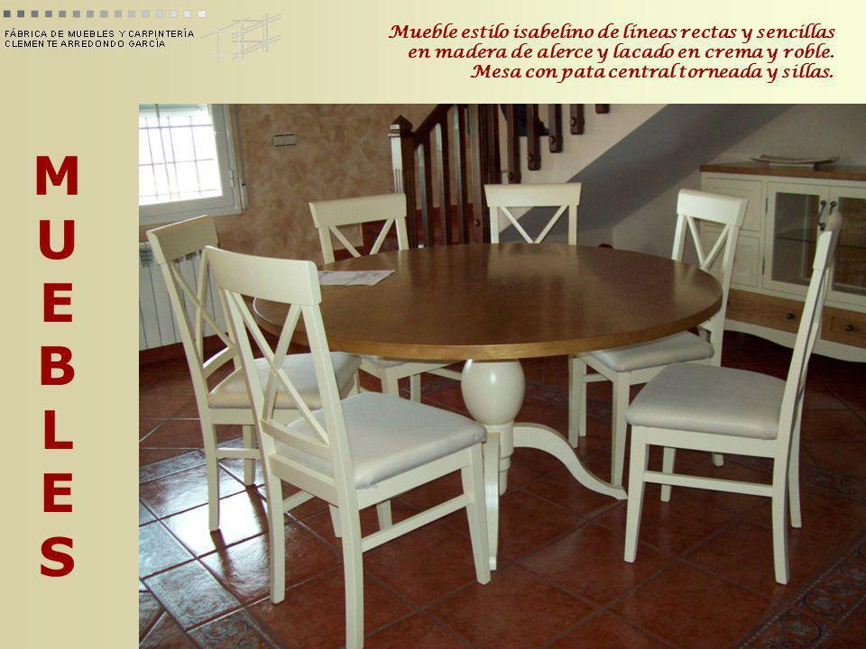 MUEBLESMUEBLES Mueble estilo isabelino de líneas rectas y sencillas en madera de alerce y lacado en crema y roble. Mesa con pata central torneada y si