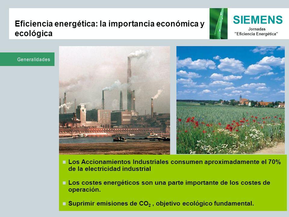 SIEMENS Jornadas Eficiencia Energética Eficiencia energética: la importancia económica y ecológica Generalidades Los Accionamientos Industriales consu