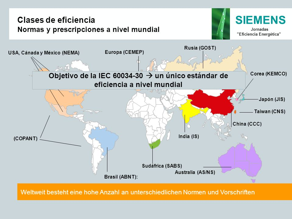 SIEMENS Jornadas Eficiencia Energética Europa (CEMEP) Sudáfrica (SABS) Japón (JIS) Taiwan (CNS) Corea (KEMCO) China (CCC) India (IS) Rusia (GOST) USA,