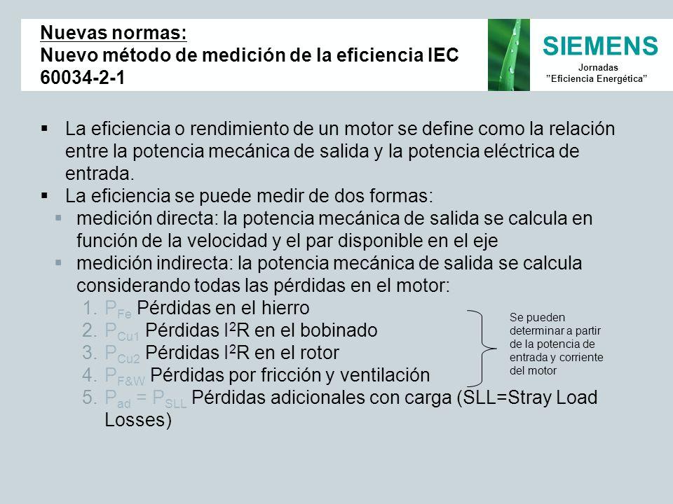 SIEMENS Jornadas Eficiencia Energética Nuevas normas: Nuevo método de medición de la eficiencia IEC 60034-2-1 La eficiencia o rendimiento de un motor