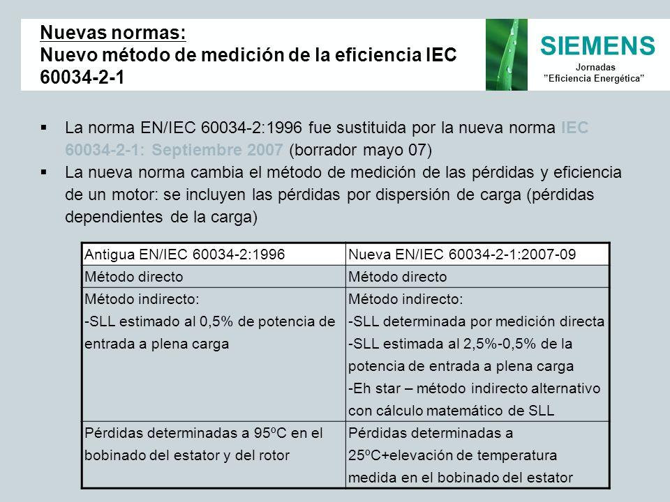 SIEMENS Jornadas Eficiencia Energética La norma EN/IEC 60034-2:1996 fue sustituida por la nueva norma IEC 60034-2-1: Septiembre 2007 (borrador mayo 07
