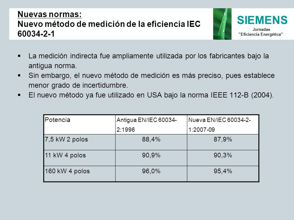 SIEMENS Jornadas Eficiencia Energética La medición indirecta fue ampliamente utilizada por los fabricantes bajo la antigua norma. Sin embargo, el nuev