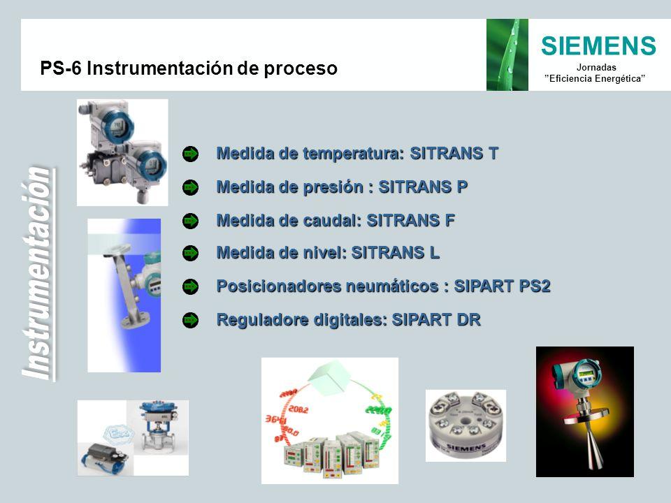 SIEMENS Jornadas Eficiencia Energética PS-6 Instrumentación de proceso Medida de temperatura: SITRANS T Medida de presión : SITRANS P Medida de caudal