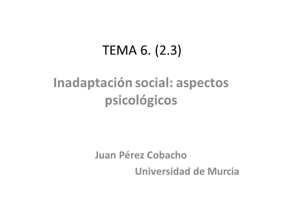 TEMA 6. (2.3) Inadaptación social: aspectos psicológicos Juan Pérez Cobacho Universidad de Murcia