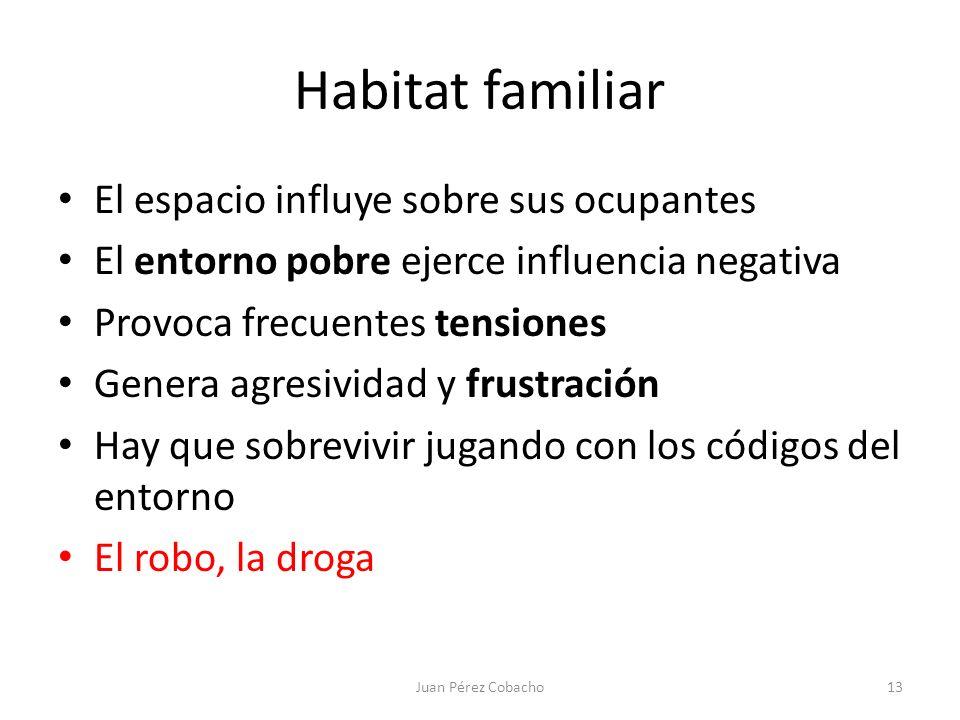 Habitat familiar El espacio influye sobre sus ocupantes El entorno pobre ejerce influencia negativa Provoca frecuentes tensiones Genera agresividad y