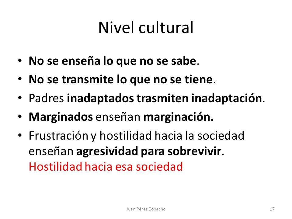 Nivel cultural No se enseña lo que no se sabe. No se transmite lo que no se tiene. Padres inadaptados trasmiten inadaptación. Marginados enseñan margi