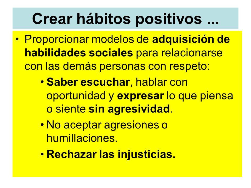 Crear hábitos positivos... Proporcionar modelos de adquisición de habilidades sociales para relacionarse con las demás personas con respeto: Saber esc