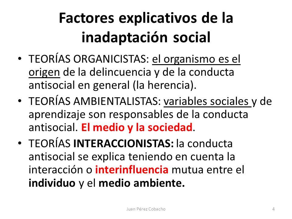 Factores explicativos de la inadaptación social TEORÍAS ORGANICISTAS: el organismo es el origen de la delincuencia y de la conducta antisocial en gene