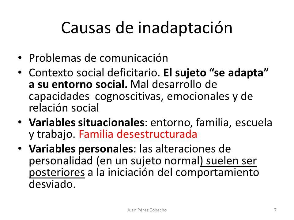 Causas de inadaptación Problemas de comunicación Contexto social deficitario. El sujeto se adapta a su entorno social. Mal desarrollo de capacidades c