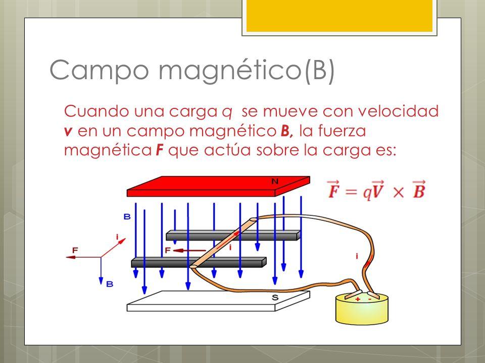 Campo magnético(B) Cuando una carga q se mueve con velocidad v en un campo magnético B, la fuerza magnética F que actúa sobre la carga es: