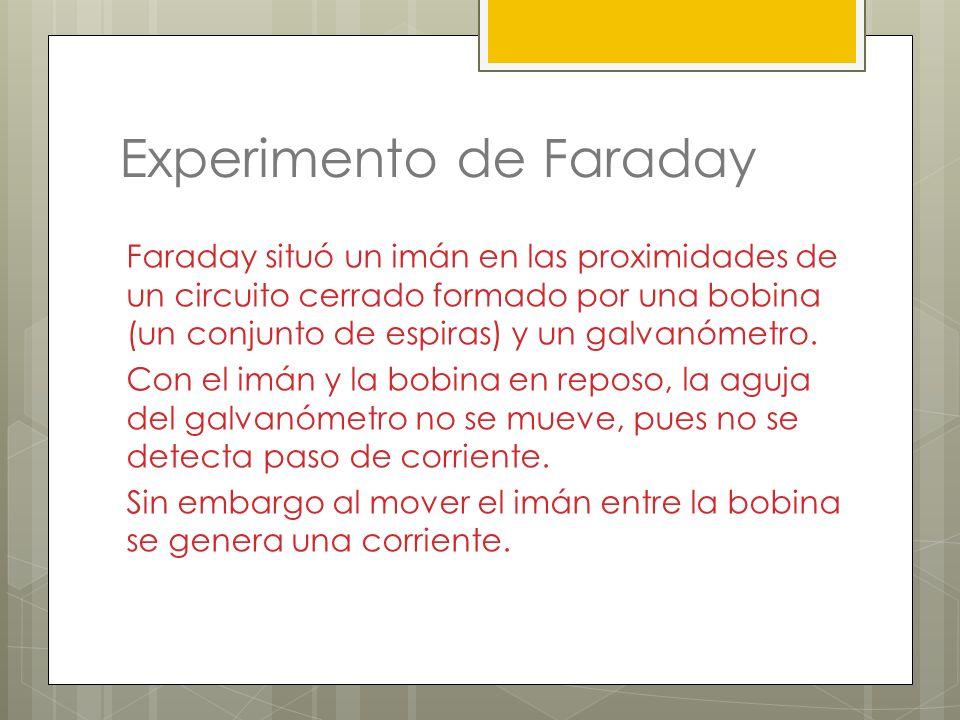 Experimento de Faraday Faraday situó un imán en las proximidades de un circuito cerrado formado por una bobina (un conjunto de espiras) y un galvanóme