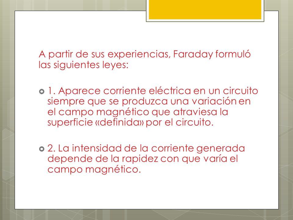 A partir de sus experiencias, Faraday formuló las siguientes leyes: 1. Aparece corriente eléctrica en un circuito siempre que se produzca una variació