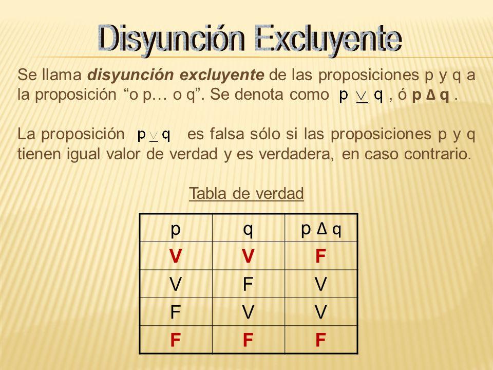 Se llama disyunción excluyente de las proposiciones p y q a la proposición o p… o q. Se denota como, ó p q. La proposición es falsa sólo si las propos
