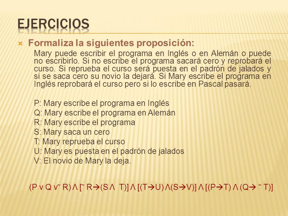 Formaliza la siguientes proposición: Mary puede escribir el programa en Inglés o en Alemán o puede no escribirlo. Si no escribe el programa sacará cer