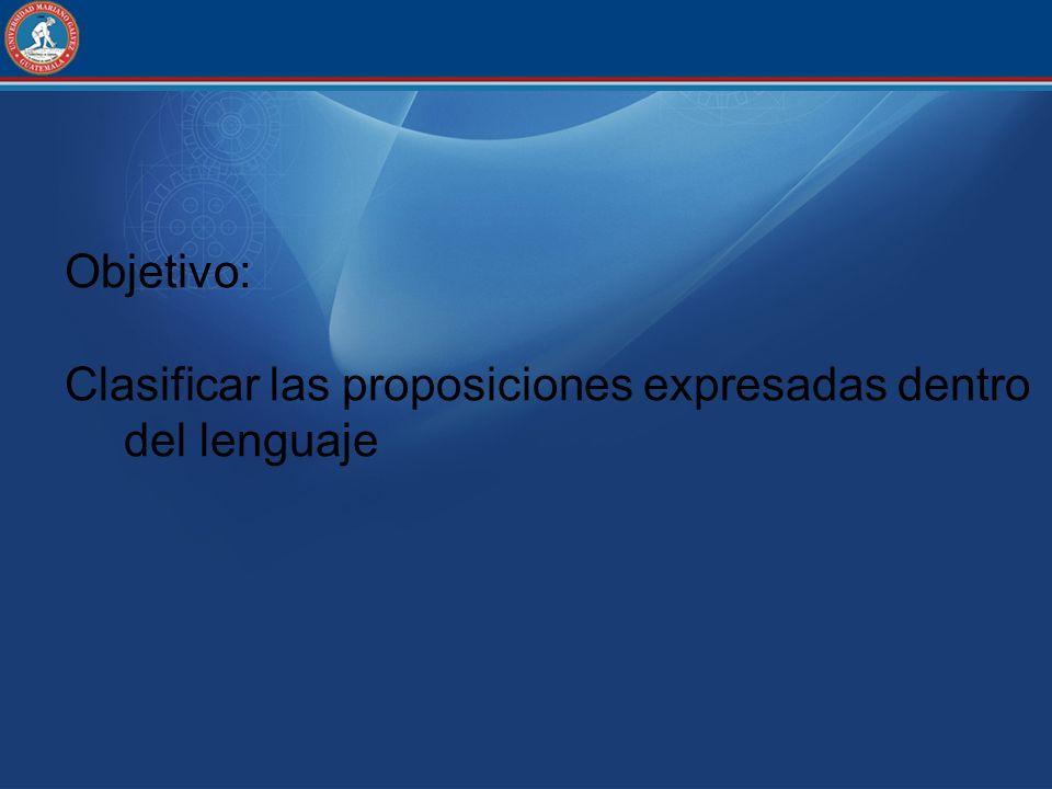Objetivo: Clasificar las proposiciones expresadas dentro del lenguaje