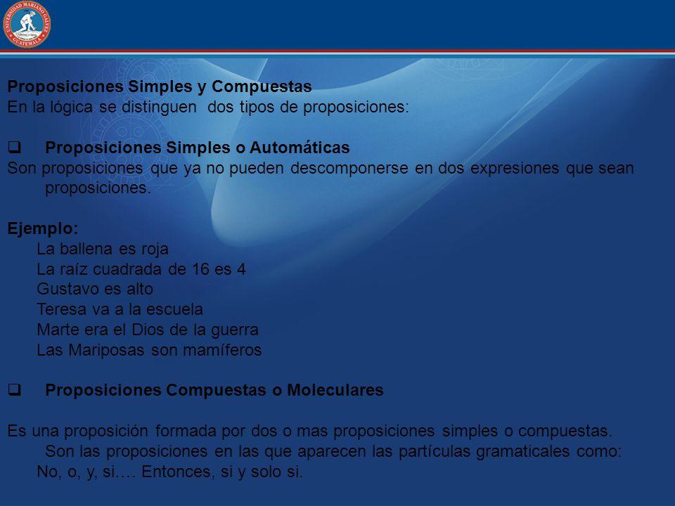 Proposiciones Simples y Compuestas En la lógica se distinguen dos tipos de proposiciones: Proposiciones Simples o Automáticas Son proposiciones que ya