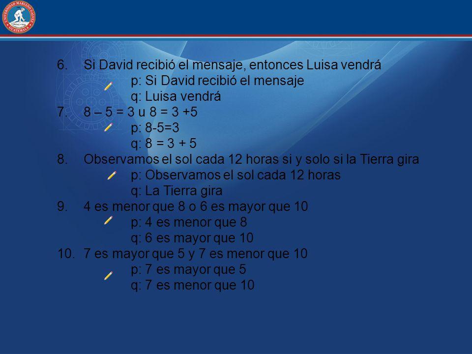 6.Si David recibió el mensaje, entonces Luisa vendrá p: Si David recibió el mensaje q: Luisa vendrá 7.8 – 5 = 3 u 8 = 3 +5 p: 8-5=3 q: 8 = 3 + 5 8.Obs