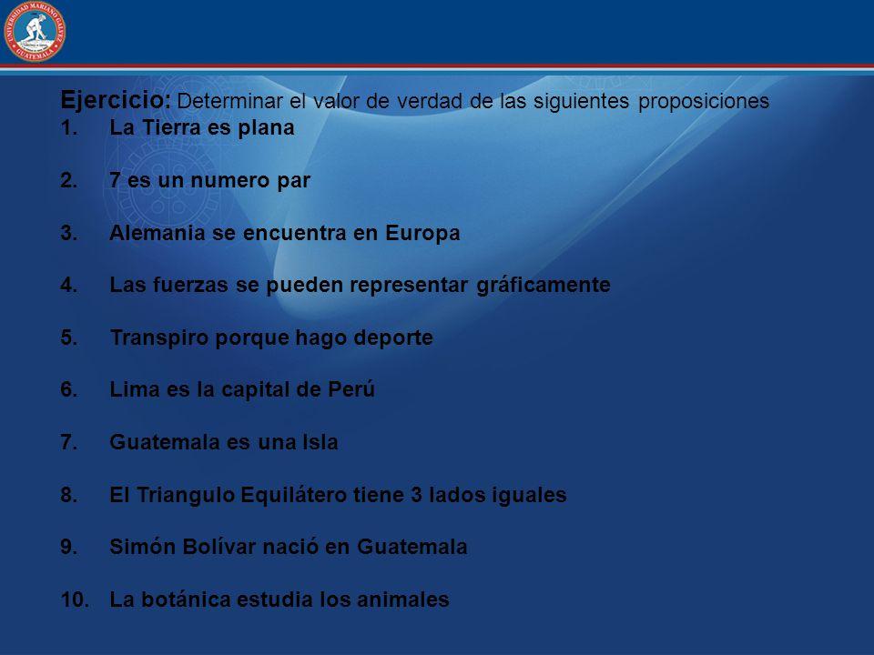Ejercicio: Determinar el valor de verdad de las siguientes proposiciones 1.La Tierra es plana 2.7 es un numero par 3.Alemania se encuentra en Europa 4