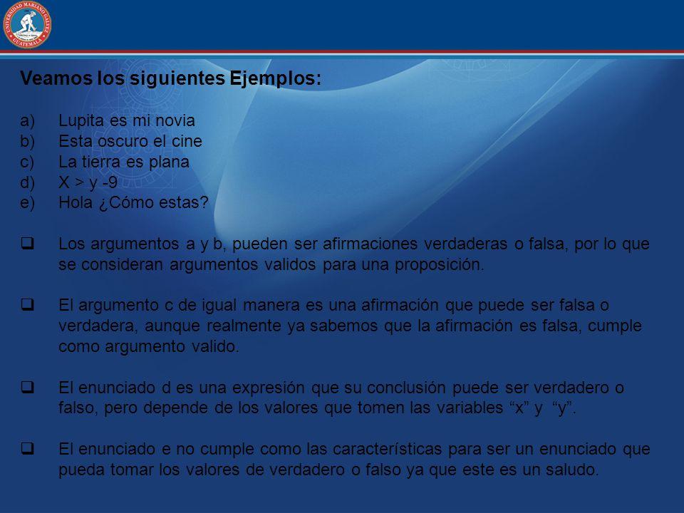 Veamos los siguientes Ejemplos: a)Lupita es mi novia b)Esta oscuro el cine c)La tierra es plana d)X > y -9 e)Hola ¿Cómo estas? Los argumentos a y b, p