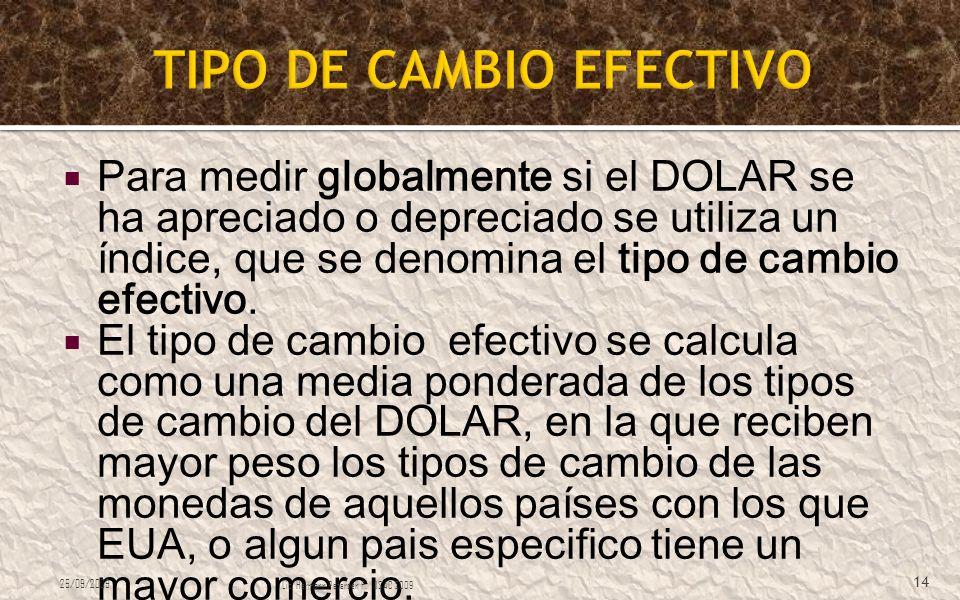 Para medir globalmente si el DOLAR se ha apreciado o depreciado se utiliza un índice, que se denomina el tipo de cambio efectivo. El tipo de cambio ef