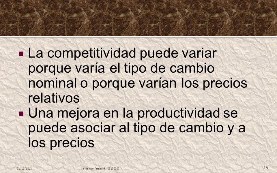 La competitividad puede variar porque varía el tipo de cambio nominal o porque varían los precios relativos Una mejora en la productividad se puede as