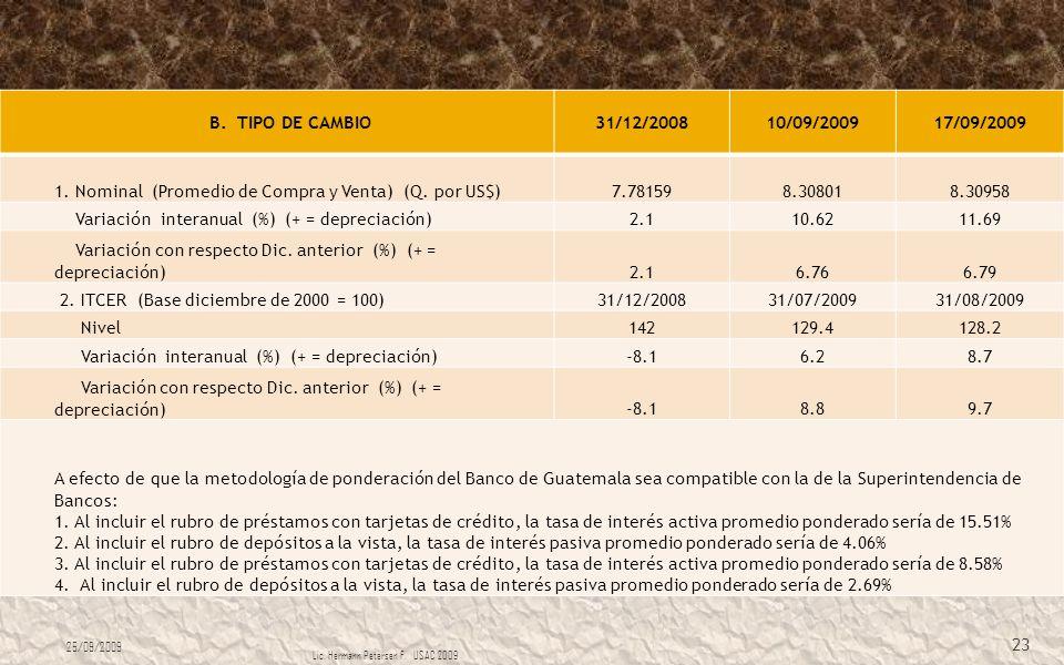 B. TIPO DE CAMBIO 31/12/200810/09/200917/09/2009 1. Nominal (Promedio de Compra y Venta) (Q. por US$)7.781598.308018.30958 Variación interanual (%) (+