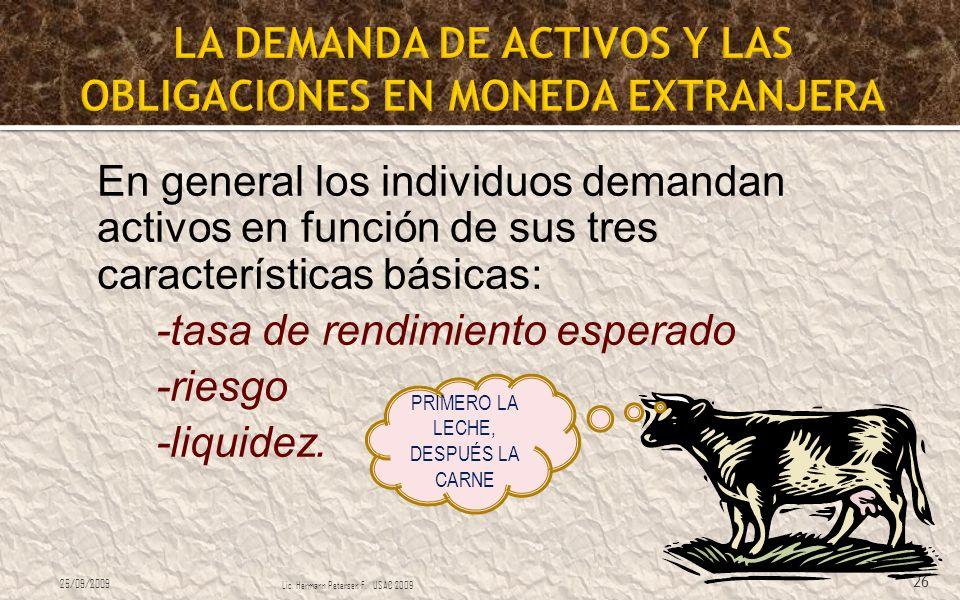 En general los individuos demandan activos en función de sus tres características básicas: -tasa de rendimiento esperado -riesgo -liquidez. 25/09/2009