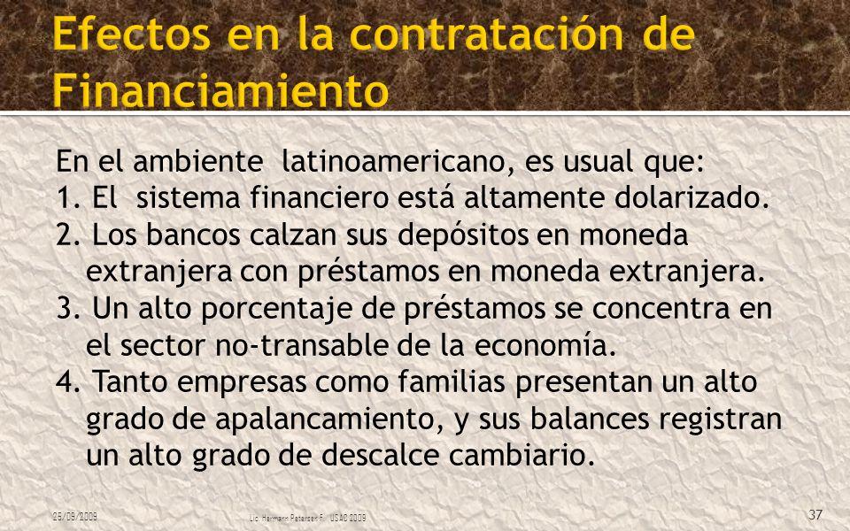 En el ambiente latinoamericano, es usual que: 1. El sistema financiero está altamente dolarizado. 2. Los bancos calzan sus depósitos en moneda extranj
