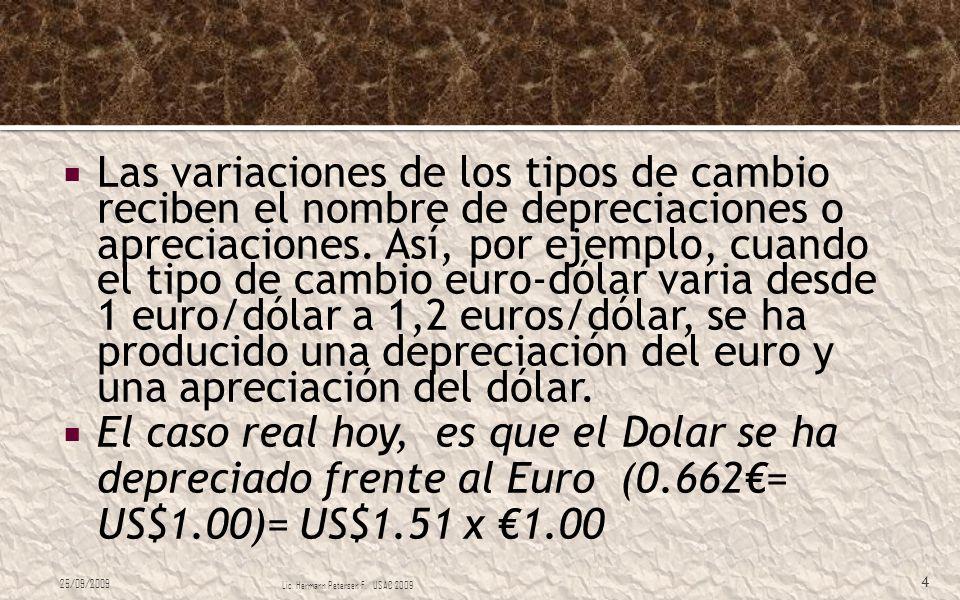 Las variaciones de los tipos de cambio reciben el nombre de depreciaciones o apreciaciones. Así, por ejemplo, cuando el tipo de cambio euro-dólar vari