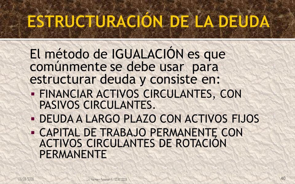 El método de IGUALACIÓN es que comúnmente se debe usar para estructurar deuda y consiste en: FINANCIAR ACTIVOS CIRCULANTES, CON PASIVOS CIRCULANTES. D