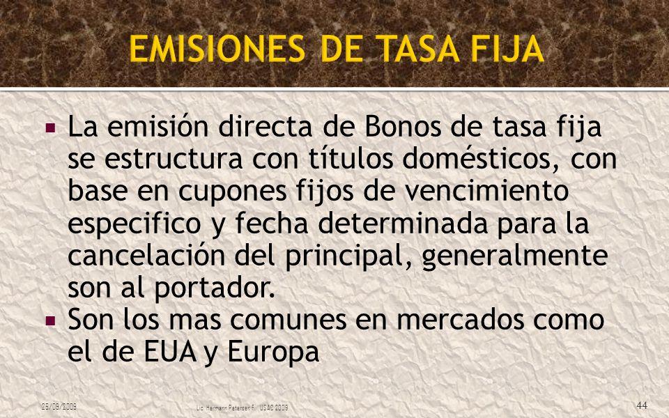 La emisión directa de Bonos de tasa fija se estructura con títulos domésticos, con base en cupones fijos de vencimiento especifico y fecha determinada