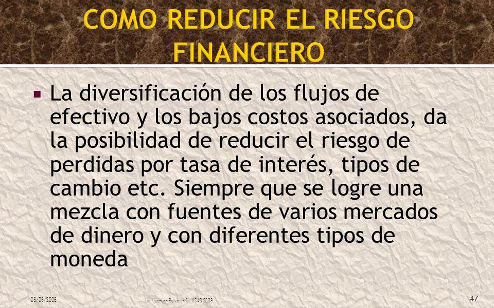 La diversificación de los flujos de efectivo y los bajos costos asociados, da la posibilidad de reducir el riesgo de perdidas por tasa de interés, tip