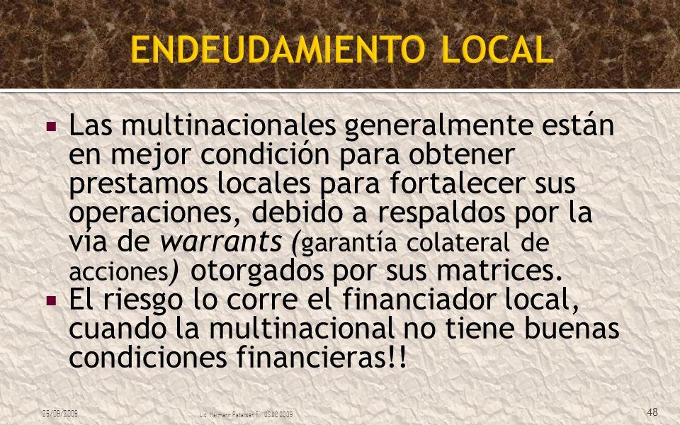 Las multinacionales generalmente están en mejor condición para obtener prestamos locales para fortalecer sus operaciones, debido a respaldos por la ví