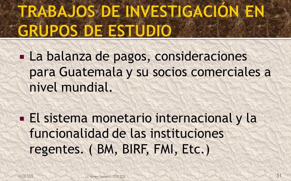 La balanza de pagos, consideraciones para Guatemala y su socios comerciales a nivel mundial. El sistema monetario internacional y la funcionalidad de