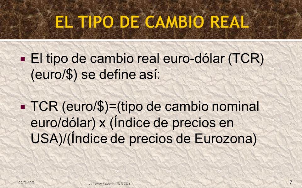 El tipo de cambio real euro-dólar (TCR) (euro/$) se define así: TCR (euro/$)=(tipo de cambio nominal euro/dólar) x (Índice de precios en USA)/(Índice