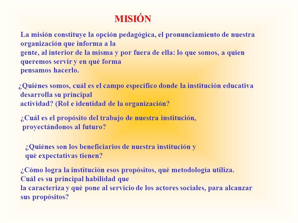 MISIÓN La misión constituye la opción pedagógica, el pronunciamiento de nuestra organización que informa a la gente, al interior de la misma y por fue