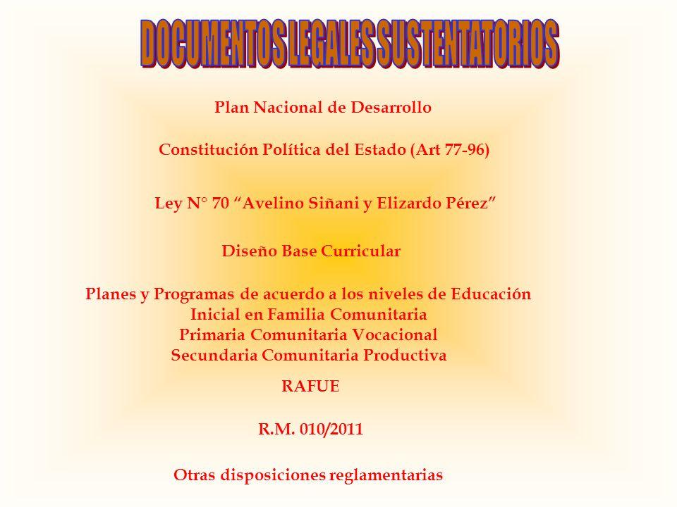 Plan Nacional de Desarrollo Constitución Política del Estado (Art 77-96) Ley N° 70 Avelino Siñani y Elizardo Pérez Diseño Base Curricular Planes y Pro