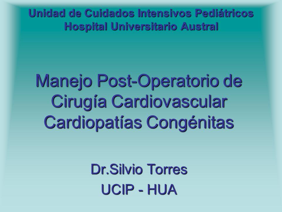 Unidad de Cuidados Intensivos Pediátricos Hospital Universitario Austral Manejo Post-Operatorio de Cirugía Cardiovascular Cardiopatías Congénitas Dr.S