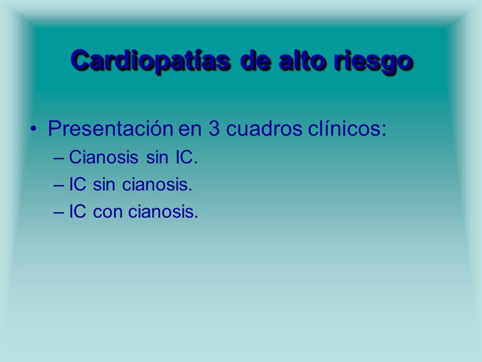 Cardiopatías de alto riesgo Presentación en 3 cuadros clínicos: –Cianosis sin IC. –IC sin cianosis. –IC con cianosis.