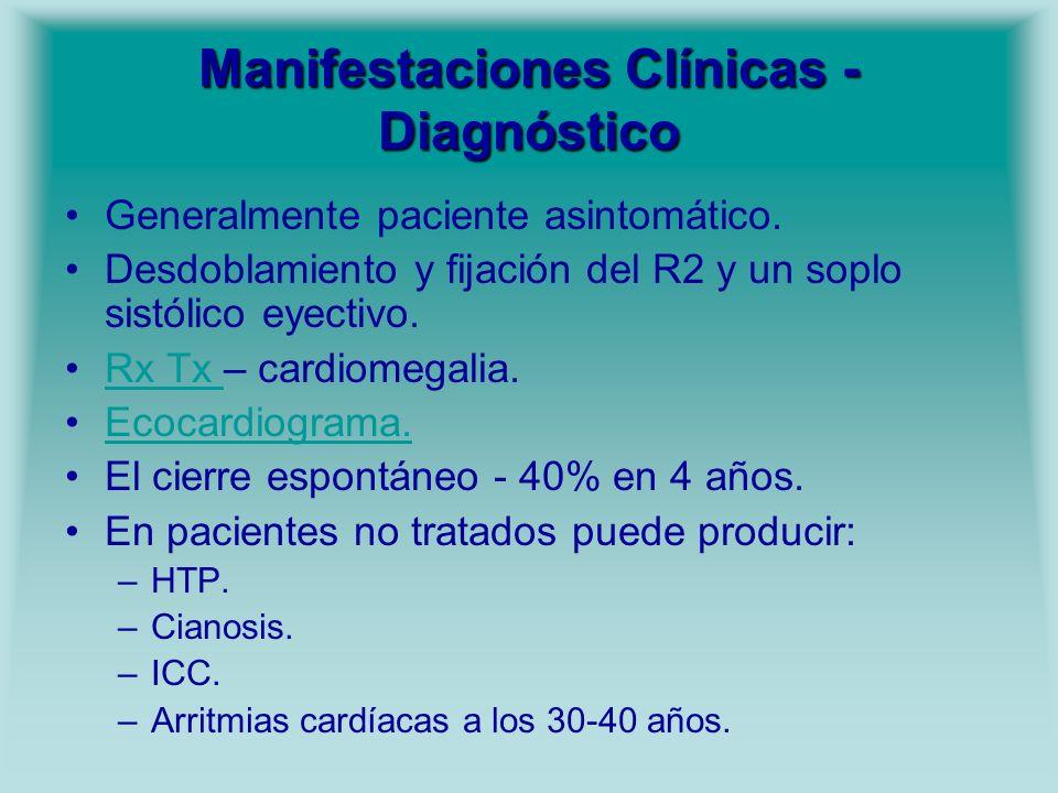 Manifestaciones Clínicas - Diagnóstico Generalmente paciente asintomático. Desdoblamiento y fijación del R2 y un soplo sistólico eyectivo. Rx Tx – car