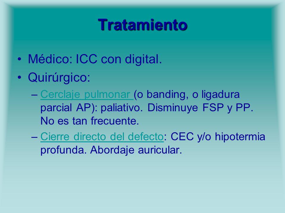 Tratamiento Médico: ICC con digital. Quirúrgico: –Cerclaje pulmonar (o banding, o ligadura parcial AP): paliativo. Disminuye FSP y PP. No es tan frecu