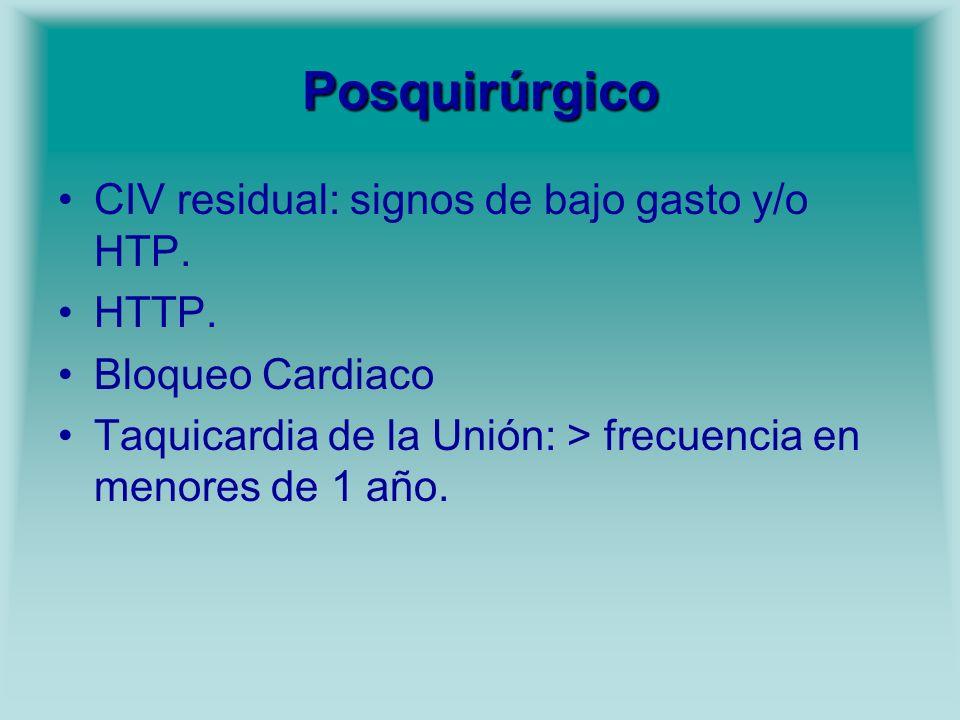 Posquirúrgico CIV residual: signos de bajo gasto y/o HTP. HTTP. Bloqueo Cardiaco Taquicardia de la Unión: > frecuencia en menores de 1 año.